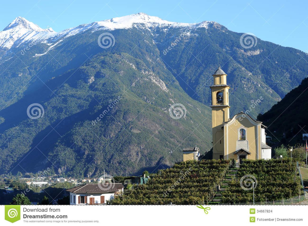 Church Of San Sebastian Artore At Bellinzona Stock Images.