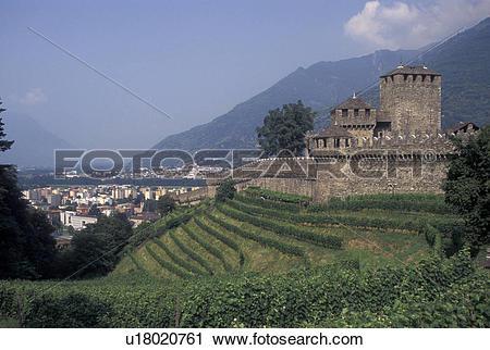 Stock Photography of castle, Switzerland, Ticino, Bellinzona.