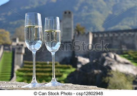 Stock Photo of Pair of champagne glasses. Bellinzona, Switzerland.