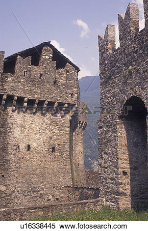 Stock Image of castle, Switzerland, Ticino, Bellinzona, Castello.