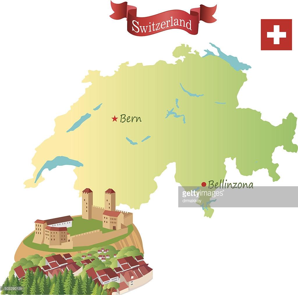 Switzerland Bellinzona Vector Art.