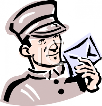 Royalty Free Clip Art Image: Hotel Bellman Holding a Letter.