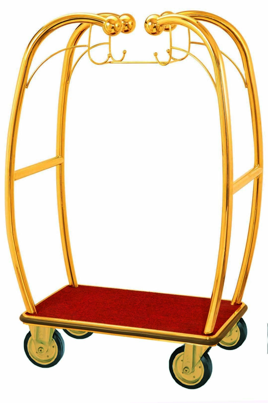 Deluxe Brass Bellman's Luggage Cart.