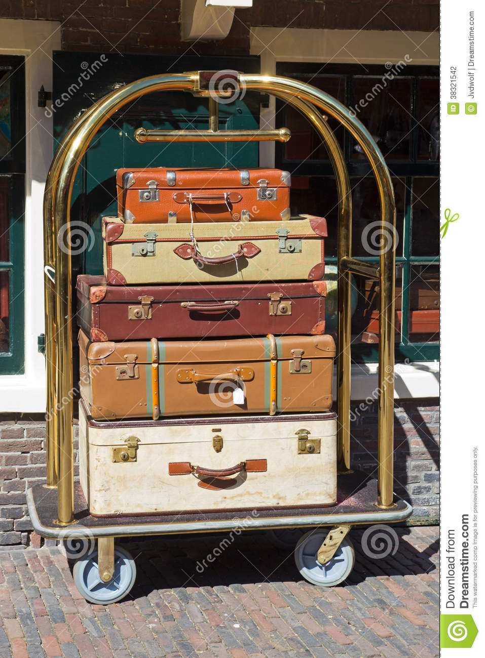 Bellman's Luggage Cart Stock Photography.