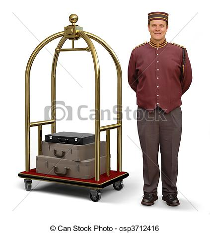 Stock Image of Bellhop with Luggage Cart.