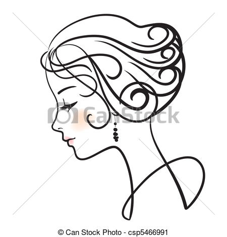 Clipart di bello, donna, vettore, illustrazione, faccia.