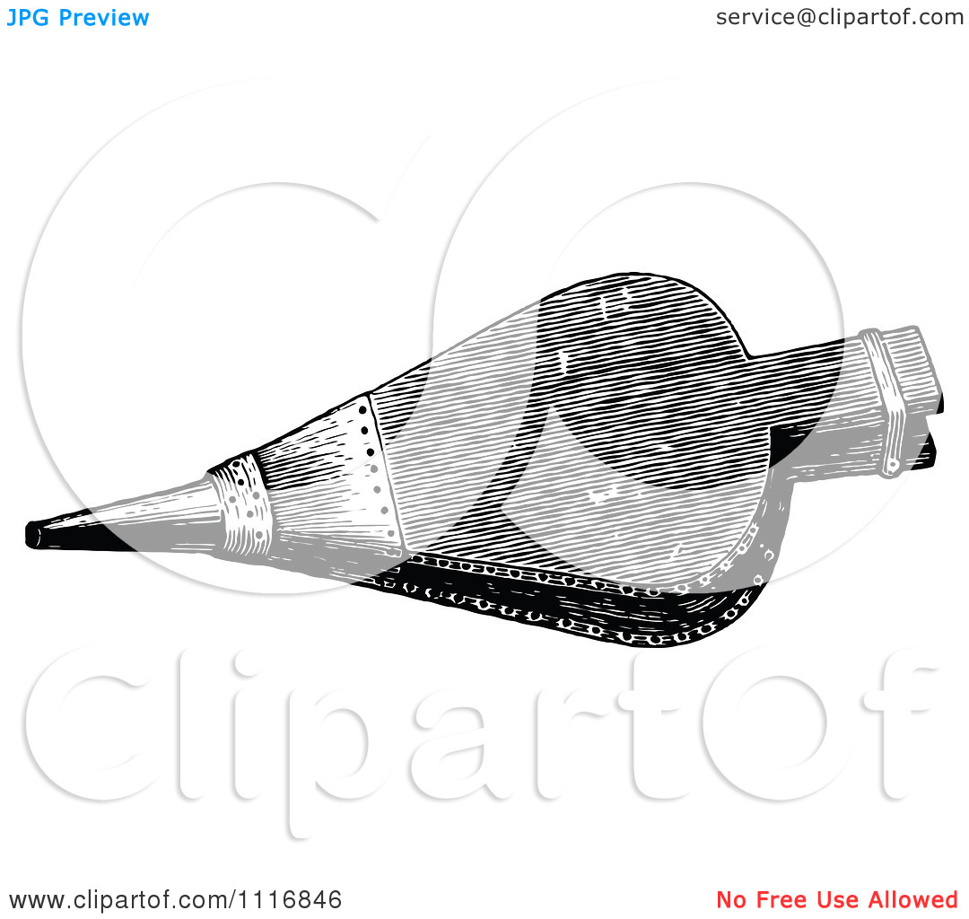 Clipart Of A Retro Vintage Black And White Fireplace Bellows.