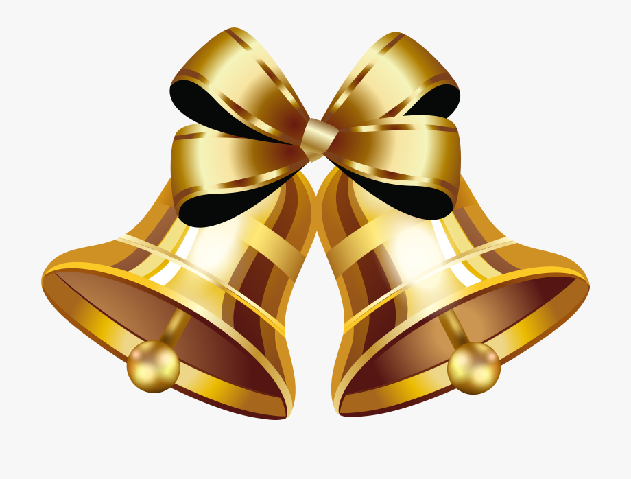 Gold Christmas Bell Png Image.