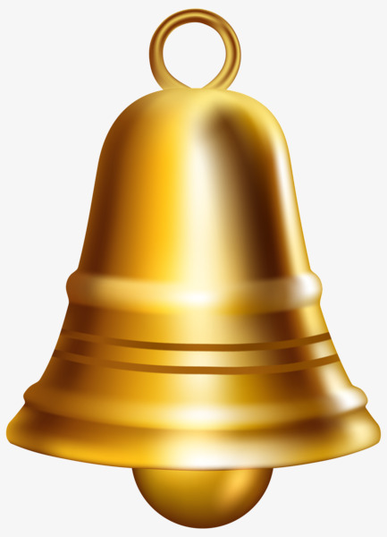 Gold Painted Bell, Golden, Hand Painted, Christmas Bells PNG.