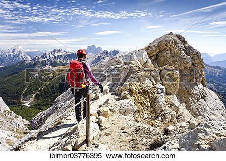"Stock Image of ""Mountain climber descending from Lagazuoi Mountain."