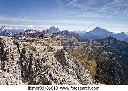 "Pictures of ""Rifugio Lagazuoi mountain hut, in front of Pelmo."