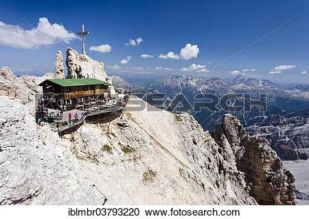 "Stock Photography of ""Rifugio Lorenzi mountain hut, Monte."