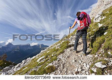 "Stock Photograph of ""Climber, Via Ferrata Giuseppe di Olivieri."