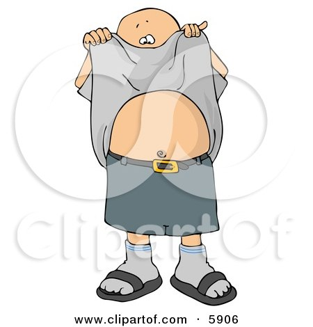 Boy Lifting His Shirt and Showing His Belly Button Clipart Picture.