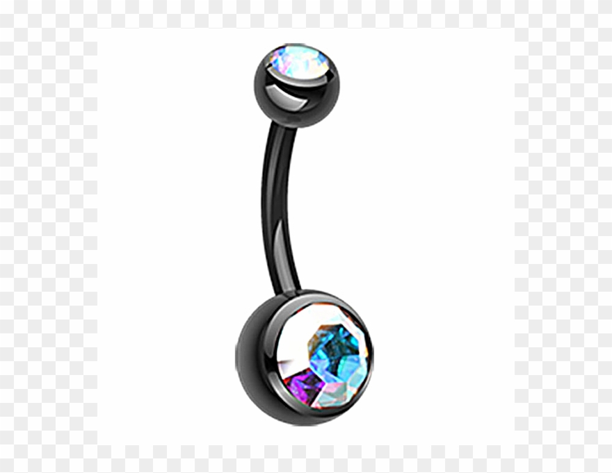 Freshtrends Black Anodized Surgical Steel Belly Ring.