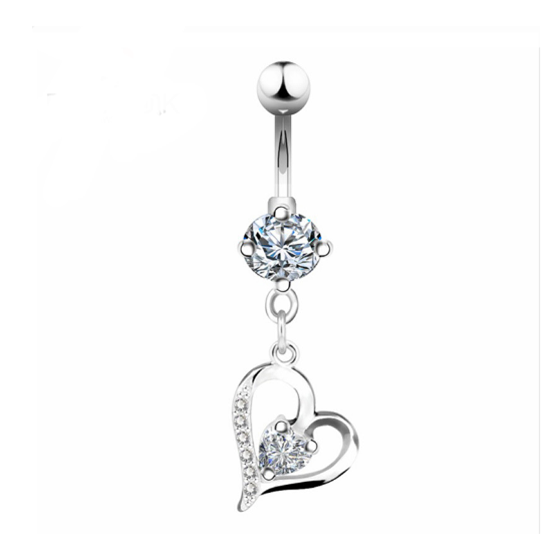Crystal Heart II Silber Belly Button Ring.