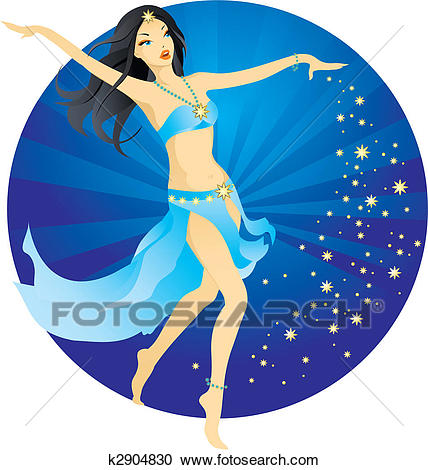 Beautiful belly dancer Clipart.