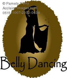 Clip Art Illustration of a Belly Dancer Logo.