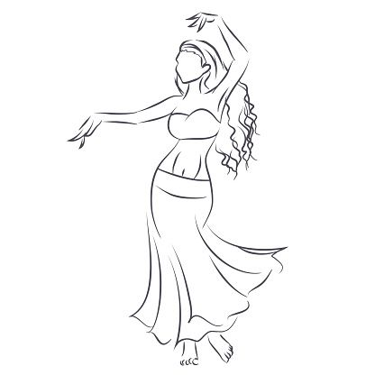 Line silhouette of young woman showing belly dance vector art.