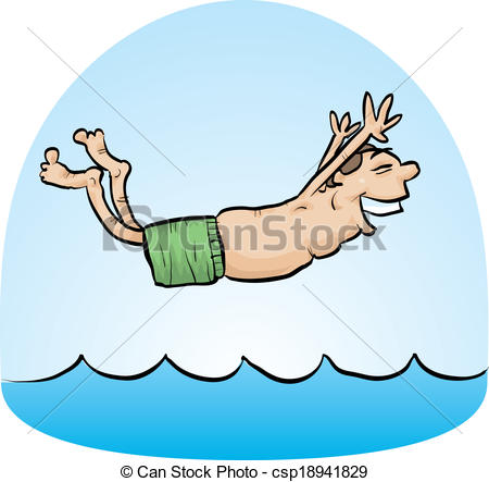 Belly flop clipart.