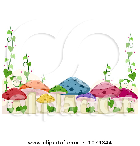 Clipart of a Waterfall and River at a Mushroom Village.