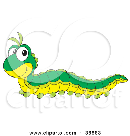 Clipart Illustration of a Cute Green Caterpillar With A Yellow.