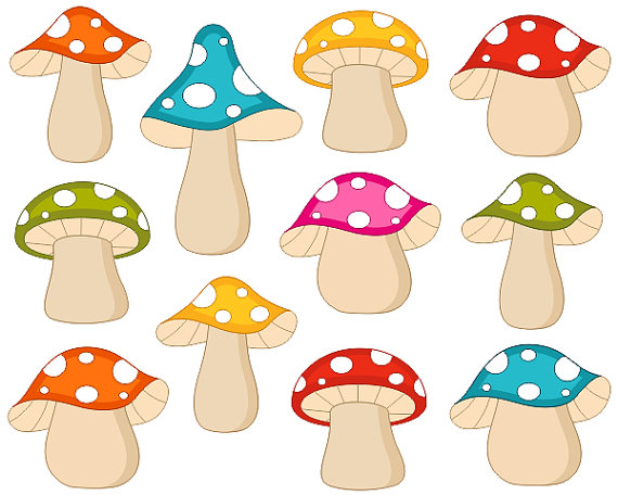Cute Colorful Fairy Woodland Mushrooms Clip Art Instant.