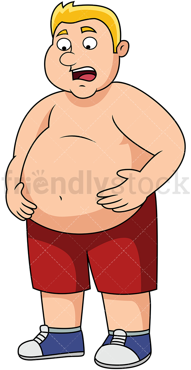 Overweight Man With Big Belly.