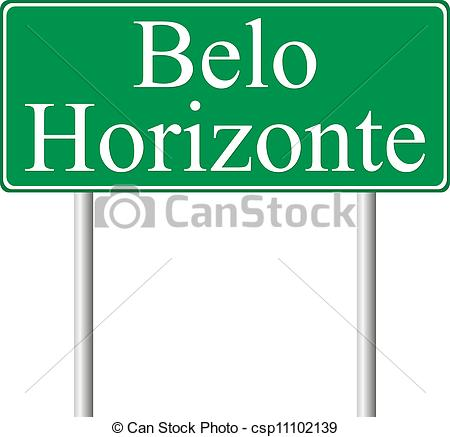 Vectors of Belo Horizonte green road sign isolated on white.