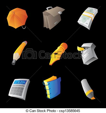 EPS Vector of Icons for personal belongings, black background.