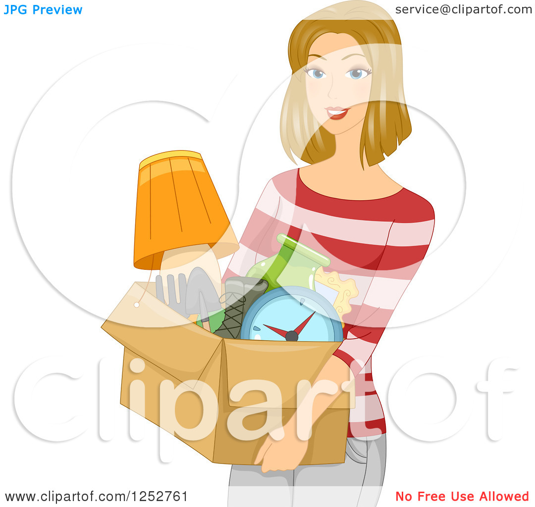 Clipart of a Blond Caucasian Woman Carrying a Box of Belongings.