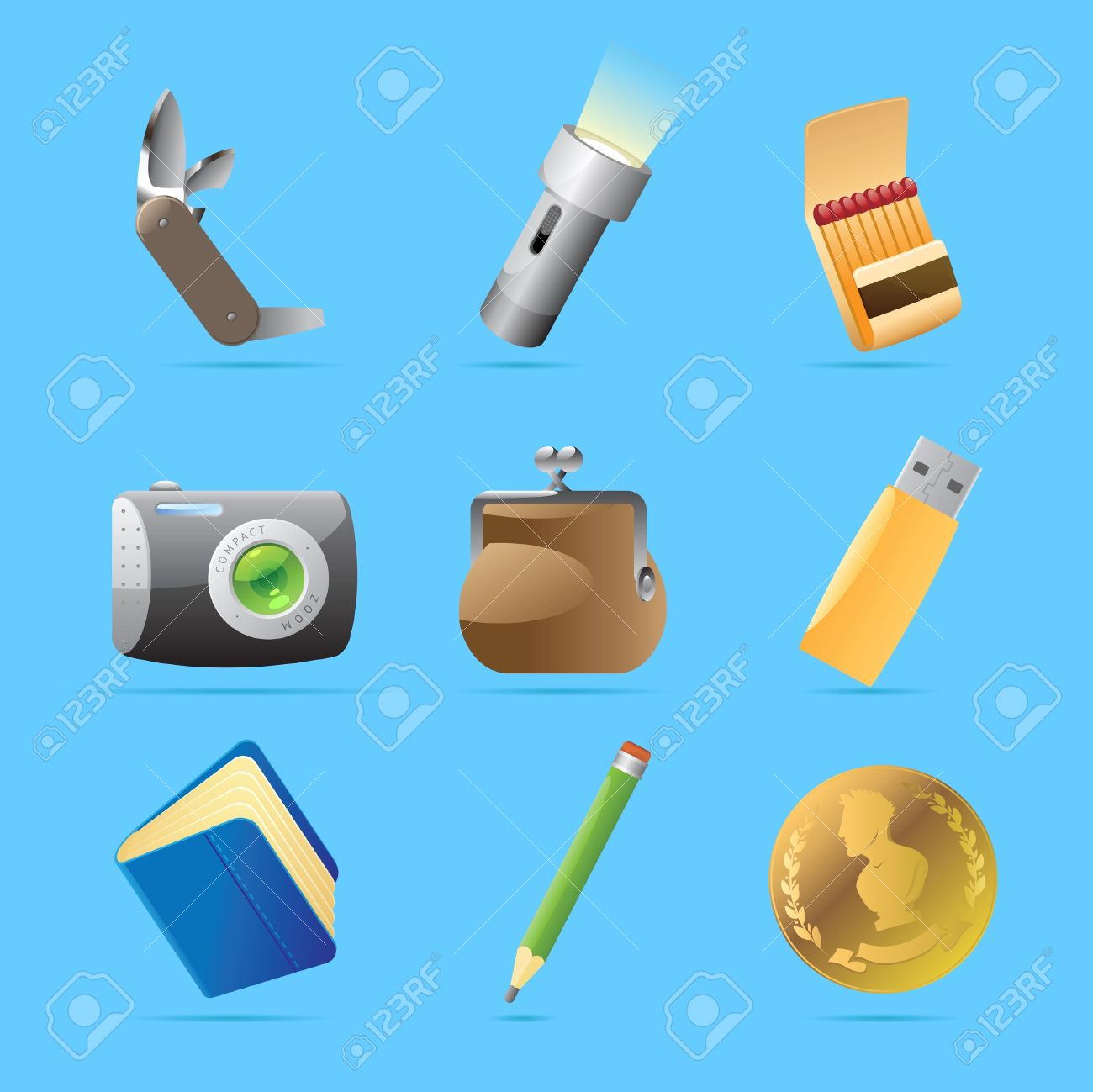 Icons For Personal Belongings Vector Illustration Royalty Free.