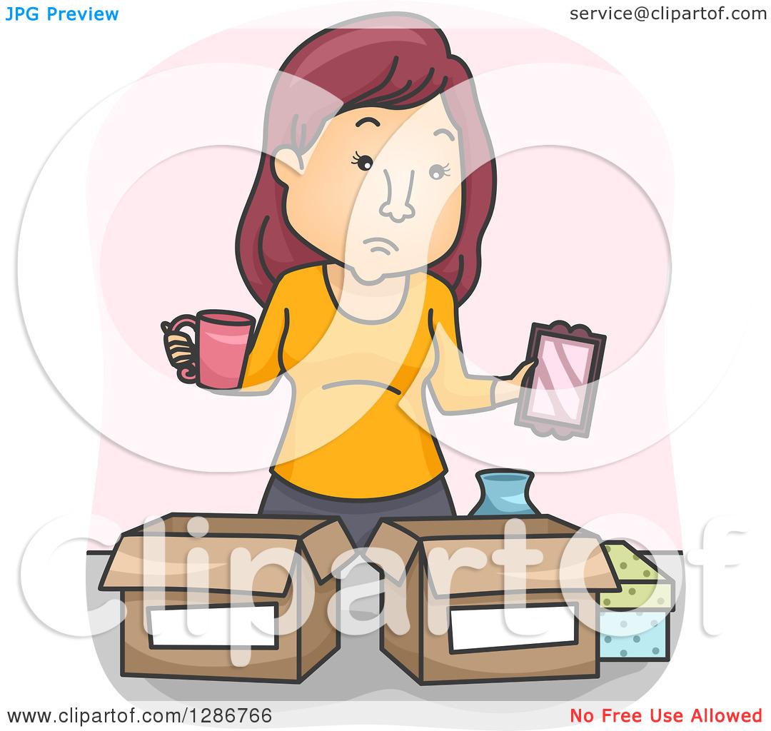 Clipart of a Cartoon White Woman Going Through Belongings and.