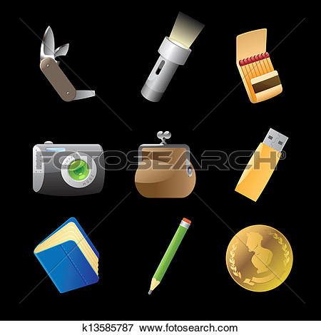 Clip Art of Icons for personal belongings k13585787.