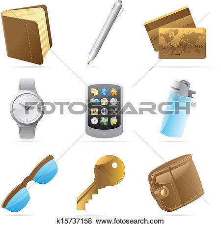 Clip Art of Icons for personal belongings k15737158.
