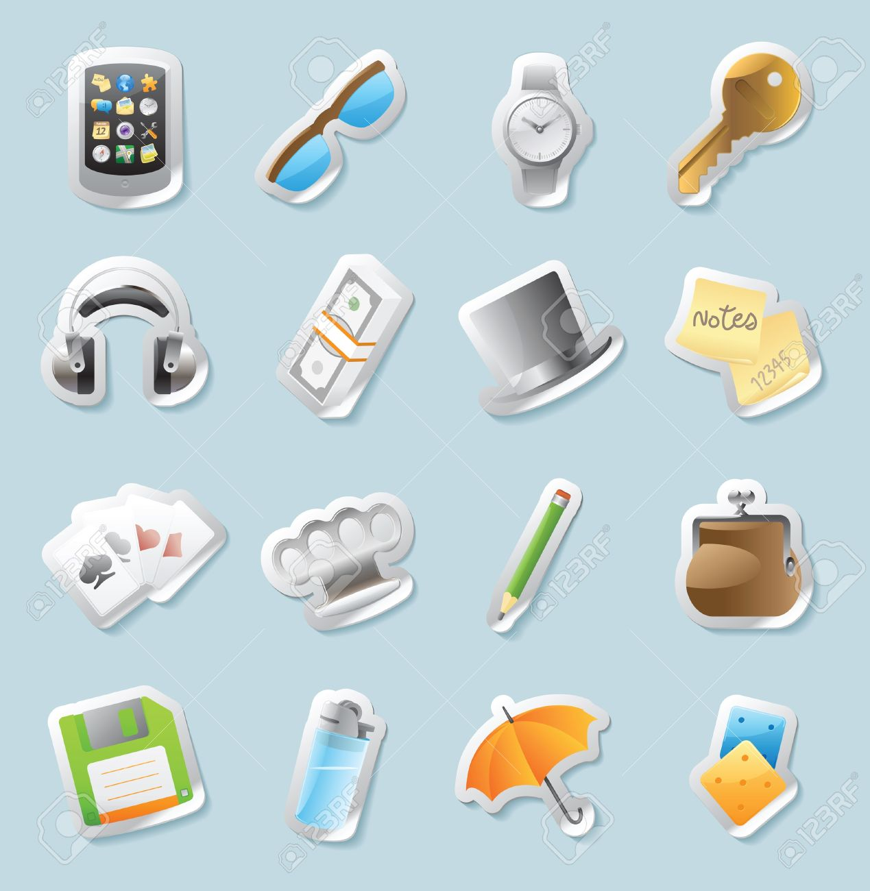 Sticker Button Set Icons For Personal Belongings Vector.