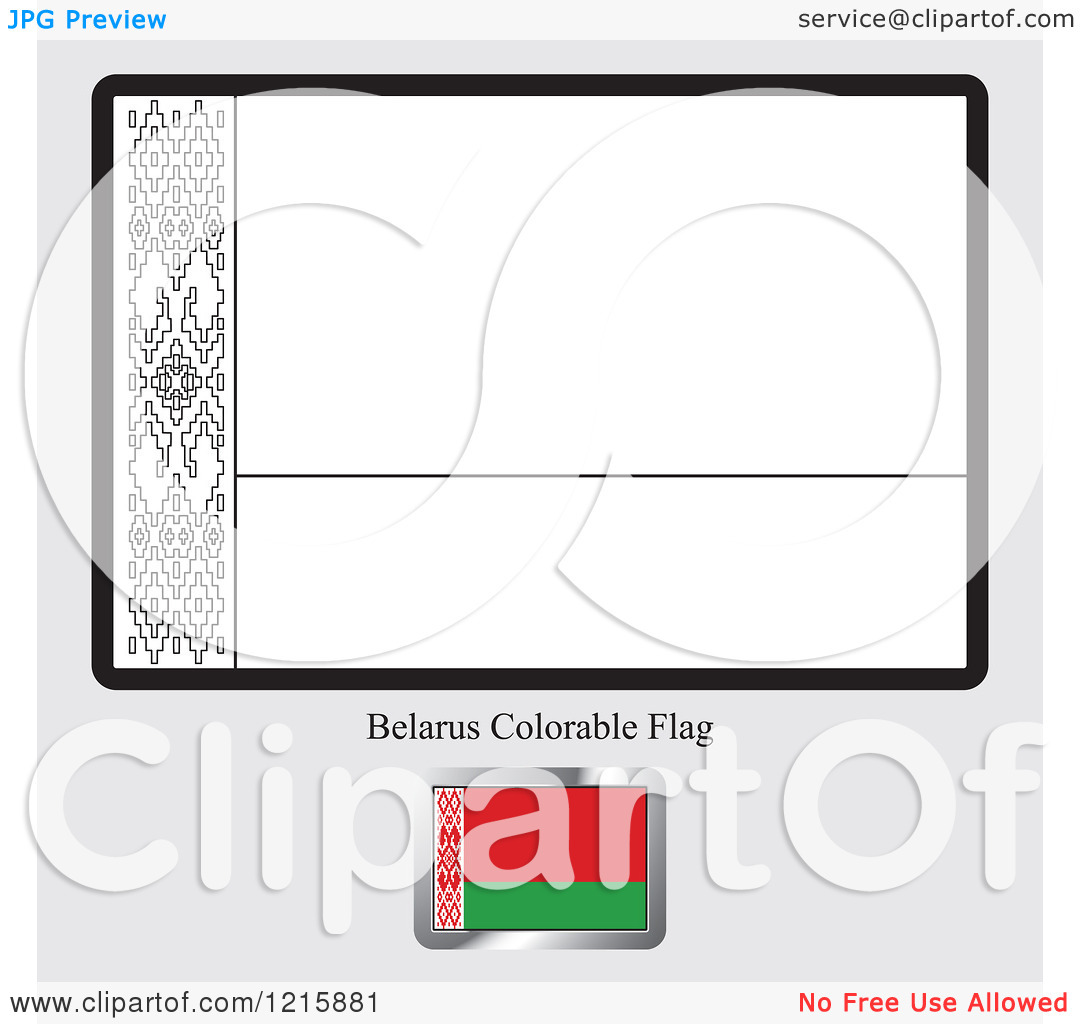Clipart of a Coloring Page and Sample for a Belarus Flag.