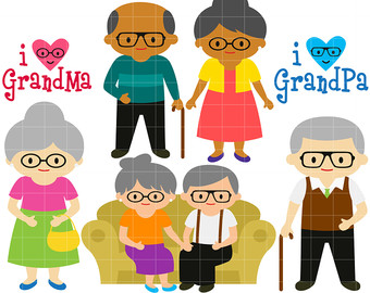 Indian grandparents with grandchildren clipart.