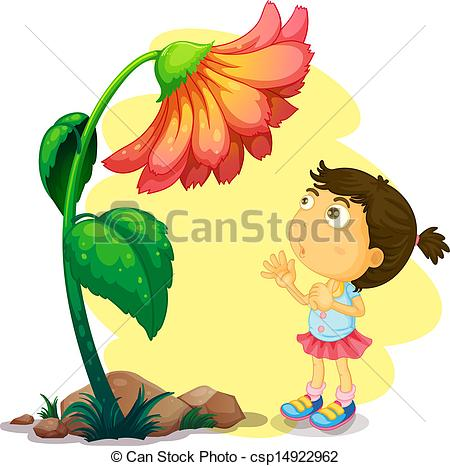 Clip Art Vector of A young girl below the giant flower.