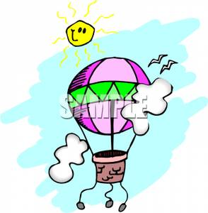 Art Image: A Purple Hot Air Balloon Below a Smiling Sun.