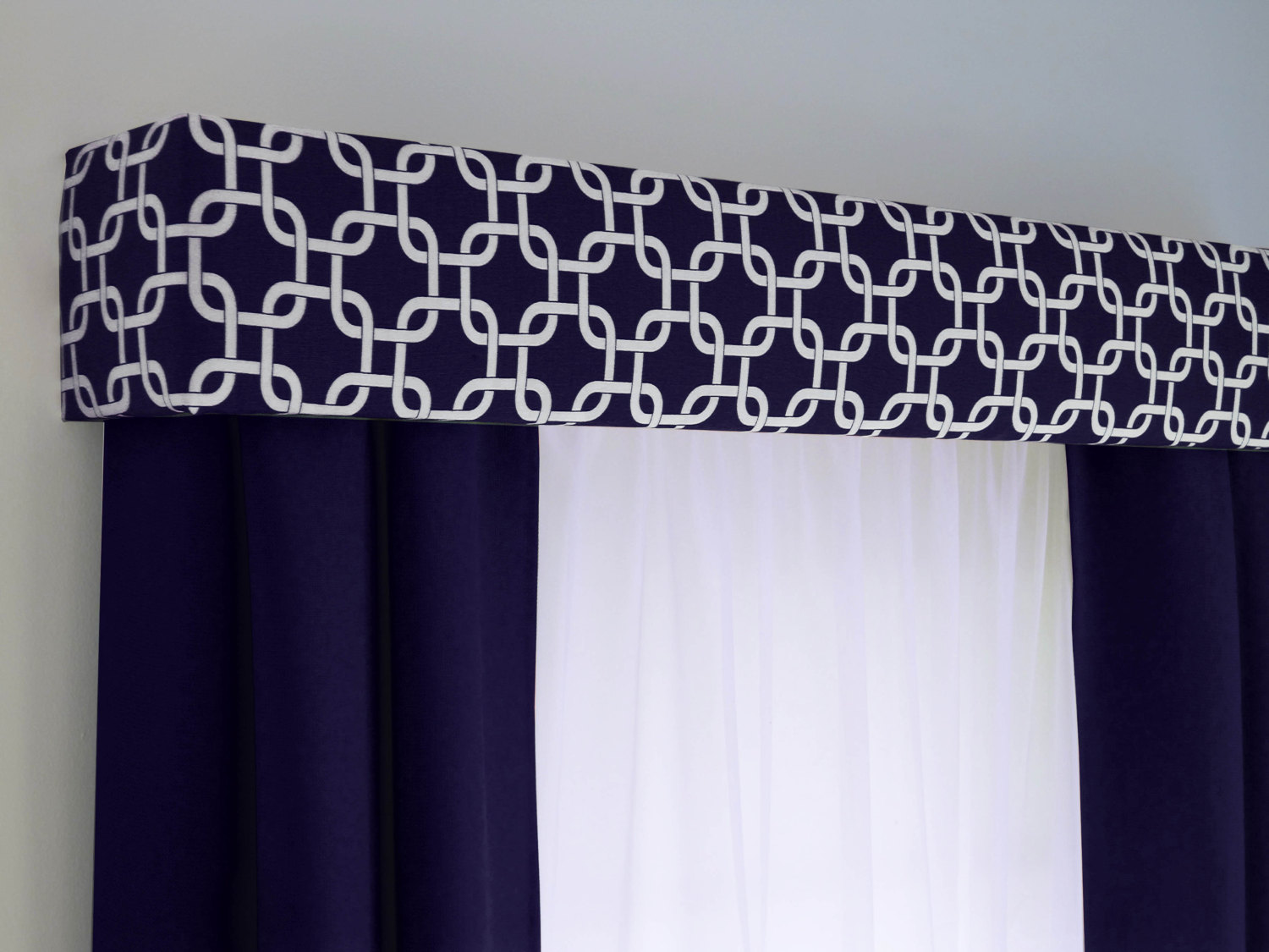 Navy Blue Geometric Cornice Board Valance Window Treatment.