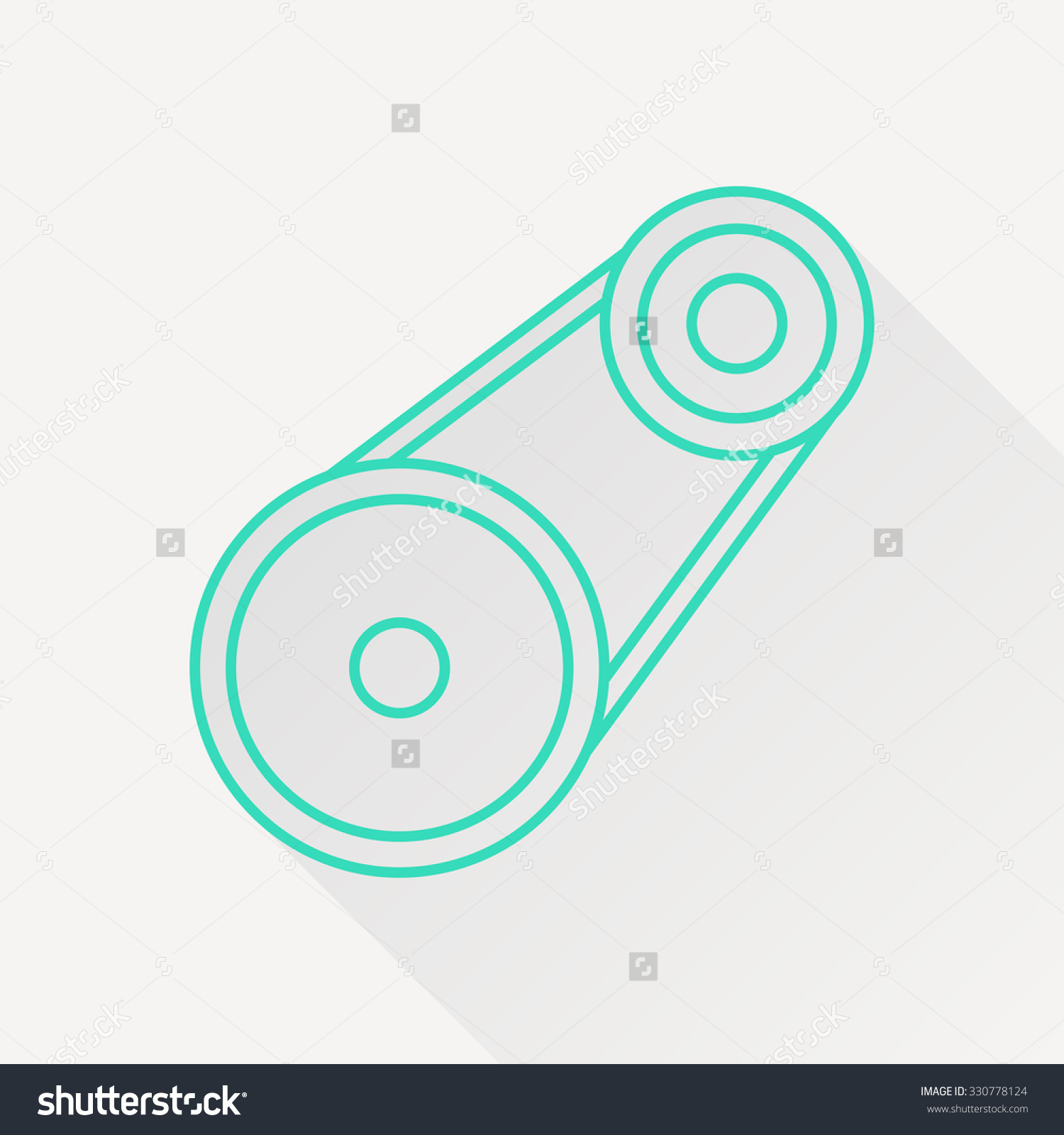 Vector Green Outline Belt Drive Icon On White Background With Long.