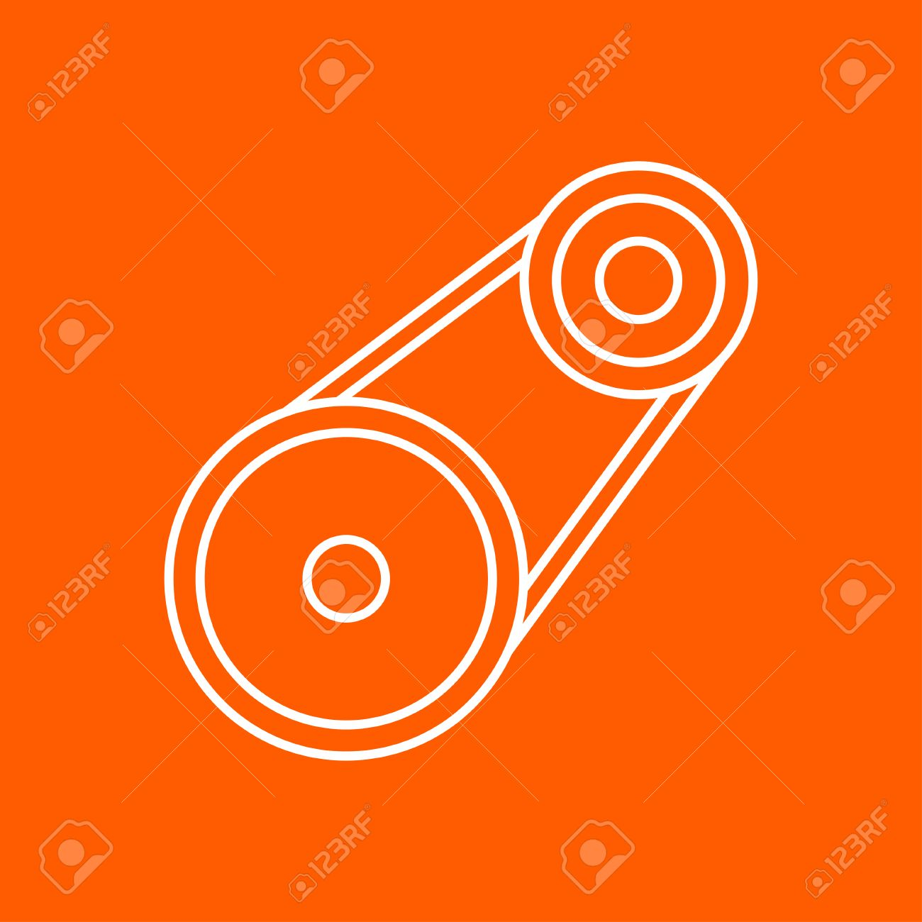 Vector Outline Belt Drive Icon On Color Background Royalty Free.