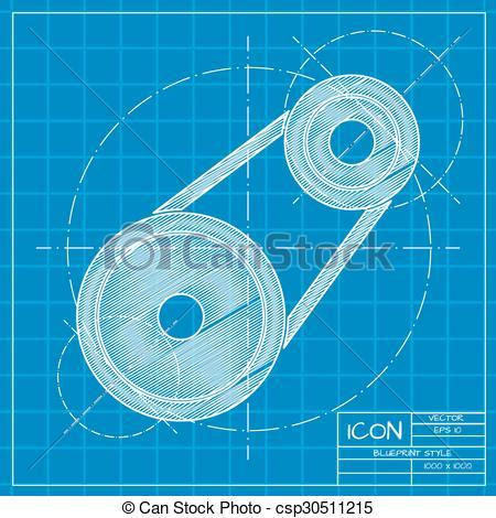 Vector Clip Art of belt drive.