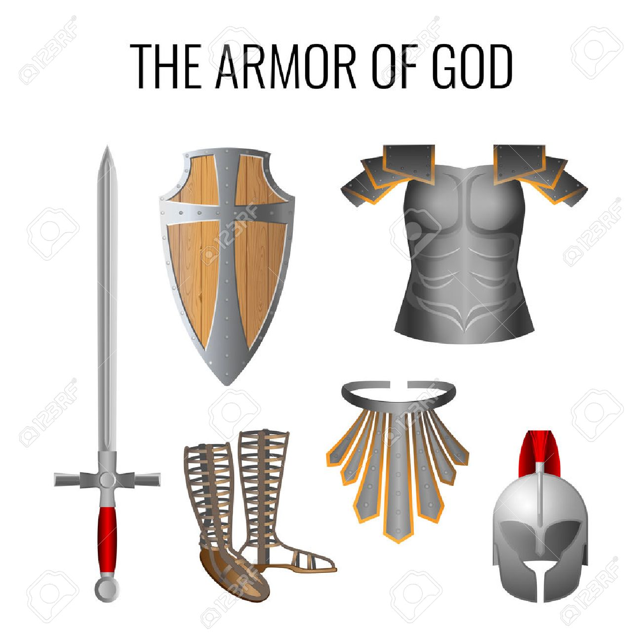 Set of armor of God elements isolated on white. Long sword of...