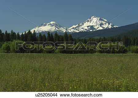 Stock Photo of Three Sisters, OR, Oregon, Black Butte Ranch.