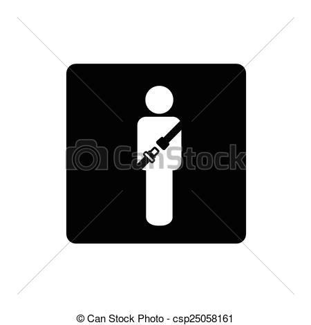 Clip Art Vector of people icon with seat belt vector csp25058161.