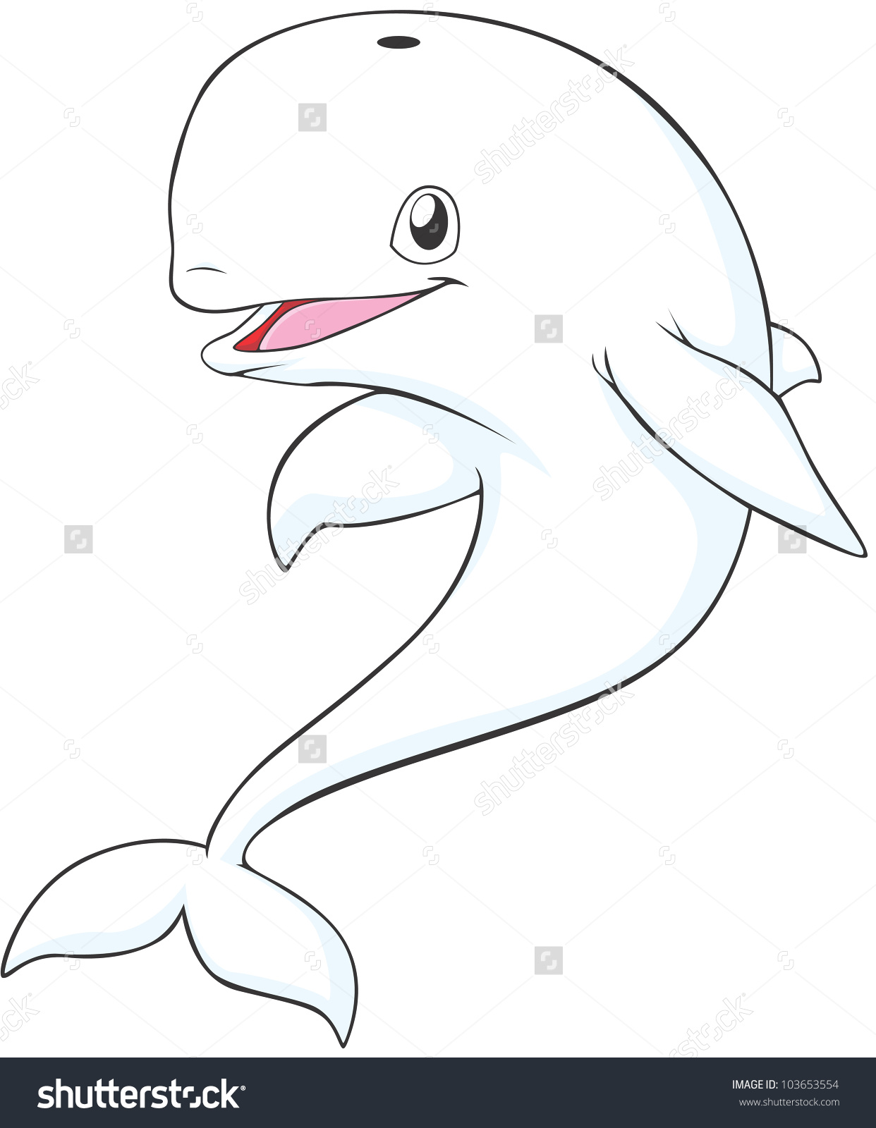 Happy Beluga Whale Cartoon Stock Vector 103653554.