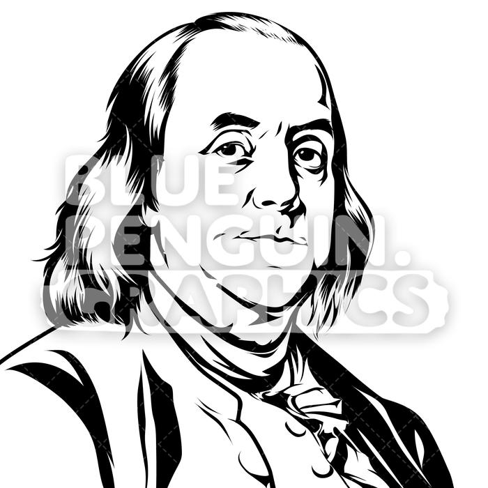 Founding Father of the United States Benjamin Franklin Silhouette.
