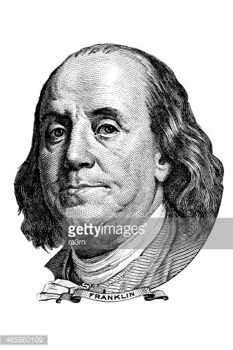 Benjamin Franklin (head to the right) Clipart Image.